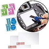 Movo paquete de 2 protectores de pantallas LCD confeccionados en vidrio óptico para la cámara Sony Alpha A3000, A5000, A6000, NEX-5, NEX-5N, NEX-6, NEX-7 - proporciona protección UV, de arañazos y polvo