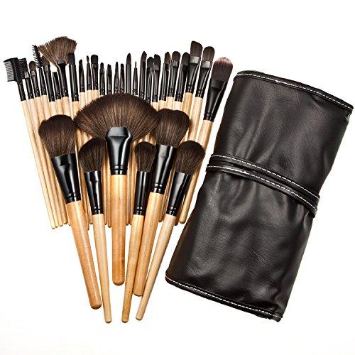 Xiaoyu 32PCS mini kit de maquillage maquillage maquillage professionnel avec étui en cuir synthétique - noir et bois