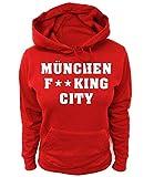Artdiktat Damen Hoodie - München Fucking City Größe XS, Rot