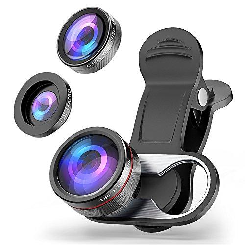 Objektiv Handy MATONE 3 in 1 Clip-On Kamera Objektiv 0.65X Weitwinkel-Objektiv & 15X Makro Objektiv & 180° Fischauge Fisheye Objektiv für iPhone X / 6 / 7 / 8 Plus , Samsung Note 8, S9, S9 Plus usw. (Schwarz)