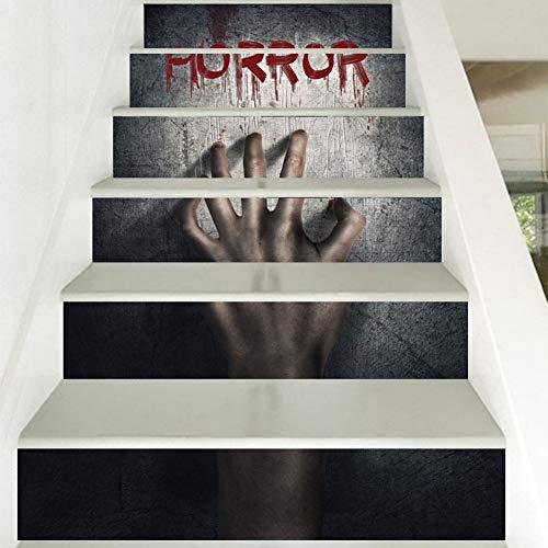 XUE 3D Treppe Aufkleber Dreidimensionale abnehmbare Tapeten Wohnzimmer Schlafzimmer Aufkleber Geist Hand Blut DIY Wandbild Print Halloween Art Decor