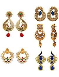 Traditional Ethnic Gold Plated Combo Of 5 Multicolour Stunning Crystal Dangler Earrings By Donna CO3104675G