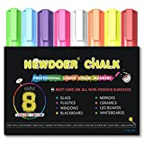 Newdoer 8 Color Liquid Chalk Markers - Bright Neon Liquid Chalk Premium Artist Quality Marker Pen Set - Child Friendly - Perfect for Chalkboards, Bistro, Windows, Glass, Labels, Whiteboards - 6 mm Bullet Tip
