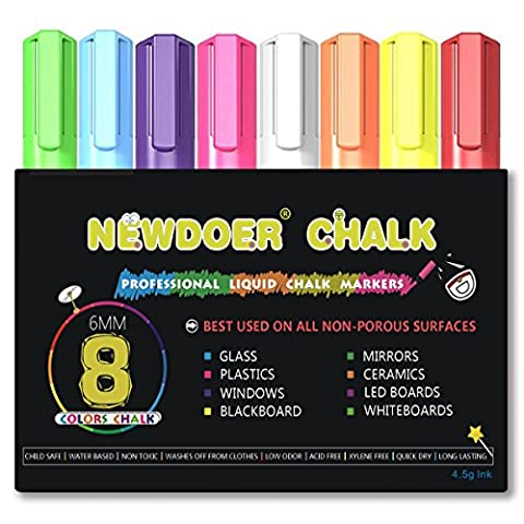 Newdoer 8 Farbe Kreidemarker - Helle Neon Flüssigkreide Premium Künstler Qualität Marker Pen Set - Kind freundlich - Perfekt für Kreidetafeln, Bistro, Windows, Glas, Etiketten, Whiteboards - 6 mm Rundspitze