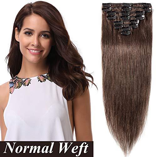 Clip in Extensions Echthaar Haarverlängerung Haarteil 8 teiliges SET Remy Haar Mittelbraun#4 16