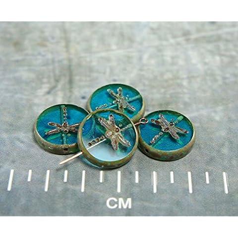 Picasso Aqua Blu Marrone Rustico Finestra Libellula Tabella di Taglio Flat Coin Turno ceca Perle di Vetro 17mm 4pcs
