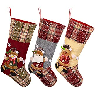 Toyvian Medias de la Navidad Navidad Calcetines Bolsas de Dulces de Regalo Calcetines para la árbol de Navidad,Paquete de 3