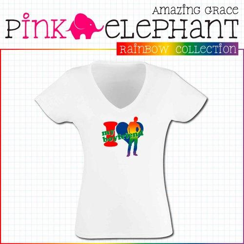 T-Shirt Rainbow Collection 9 - I love my boyfriend - Damen Weiß