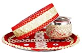 IPP Beautiful Karwa Chauth Maroon Puja Thali Set Amazing Set of thaali, lota/Kalash and chalni/jaali for KARWA CHAUTH Pujan