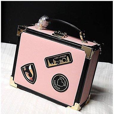 SUNNY KEY-Borsa a tracolla @ Donna Borsa a tracolla Vacchetta Per tutte le stagioni Casual Con fermaglio Bianco Nero Rosa , blushing pink black