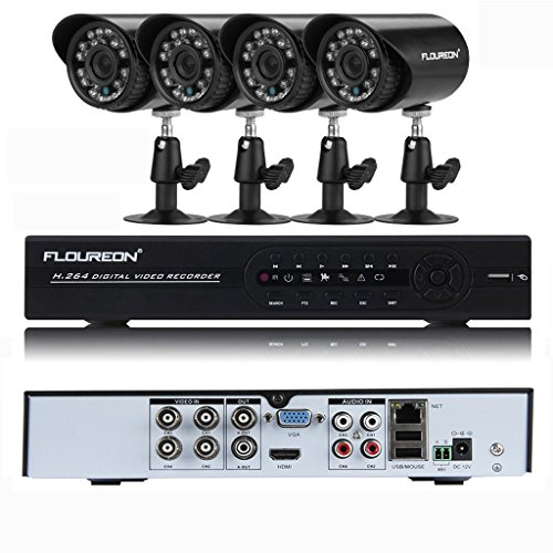 FLOUREON Surveillance amp; Alarm System CCTV Kit 1x 4CH 960H DVR   4x Outdoor/Indoor 900TVL IR-Cut Night Vision Bullet Cameras Security Kit for Home Office Shop Business Security Monitoring, Motion D