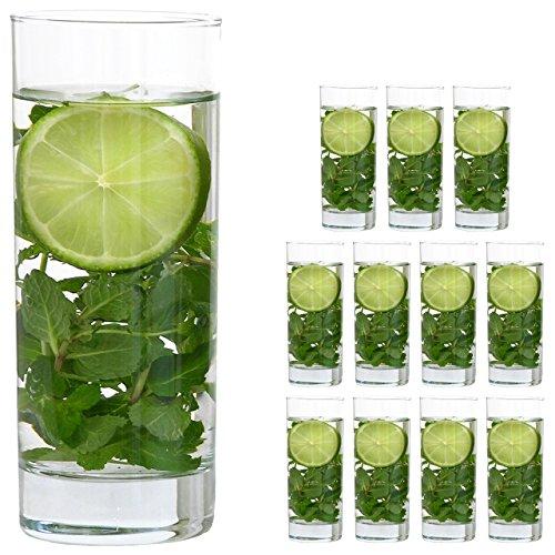 Pasabahce Gläser Set 12 teilig [ 340ml groß/Dicker Boden/gerade Linien ] Wasserglas Trinkgläser Longdrinkglas
