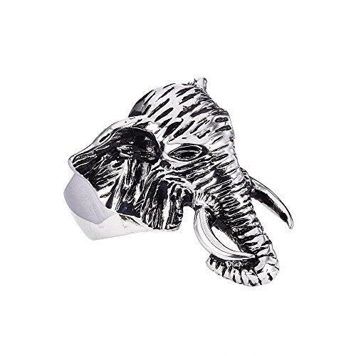 FAIRY COUPLE Anillo de hombre de Acero Inoxidable,Cabeza de Elefante Serie Animal,Plata y Negro TR37-9