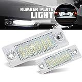 2pcs Auto 18 LED Kennzeichenbeleuchtung Nummernschildbeleuchtun Licht für Touran Caddy 3 Golf 5 Plus J-etta 5 P-assat B5.5 B6 Sedan, 12V Error Free Canbus Bright Weiß Lampen Leuchtmittel