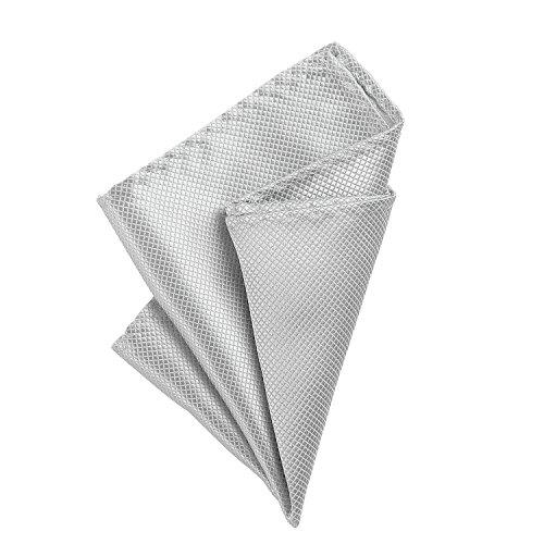 Dondon fazzoletto da taschino 21 x 21 cm per uomo adatto ad occasioni cerimoniali - argento