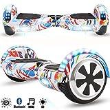 Magic Vida Skateboard Électrique 6.5 Pouces Bluetooth Puissance 700W avec Deux Barres LED Gyropode Auto-Équilibrage de Bonne qualité pour Enfants et Adultes(Graffiti