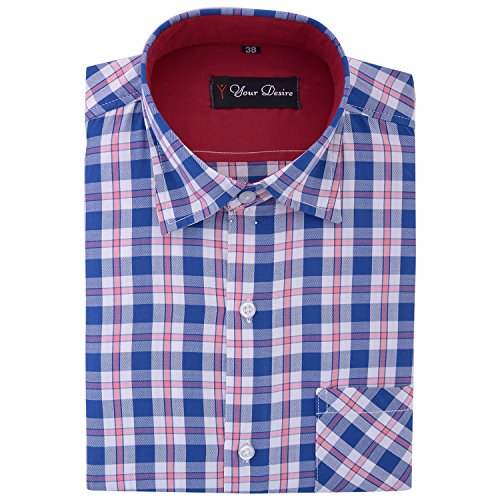 Your Desire Shirts Men Cotton Dark Blue and Red Formal Shirt (Size 38)