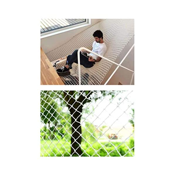 Banister Safety Net Nylon Rope Dense Mesh Stairs Anti Fall Net Outdoor Balcony Protection Net Children Safety Rope Net Kindergarten Decorative Net Fence Mesh Woven Mesh Hammock Swing 2x3m 3x5m 5x8m Mu CF-Safety Safety nets are suitable for various occasions, for use in our indoor balcony stairs to keep the baby's pets or toys safety. As stadiums, balconies, stairs, trailers, climbing facility, construction fence, etc., to prevent objects from falling. ▲ Safety net wire diameter 6MM, mesh spacing 10CM. Color: white rope net. Our protective mesh can be customized according to your needs. ▲Nylon woven mesh, the mesh surface has a large pulling force, and the double needle is a hand-woven mesh, which makes the net have strong impact resistance. 1