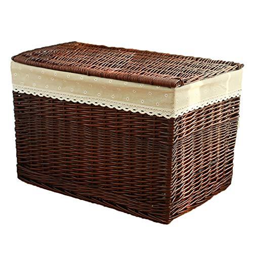 REGAL Ablagekorb Mit Deckel Wicker Rechteckige Spielzeug Box Breathable Durable Brown Kleinigkeiten Korb (größe : 60x40x40cm) - Wicker Regal Korb