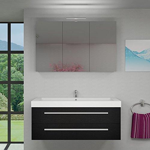 Badmöbel Set City 101 V1 Esche schwarz, Badezimmermöbel, Waschtisch 120cm, Beleuchtung Spiegelschrank:2 x 5W LED + 1x Energiebox +65.-EUR