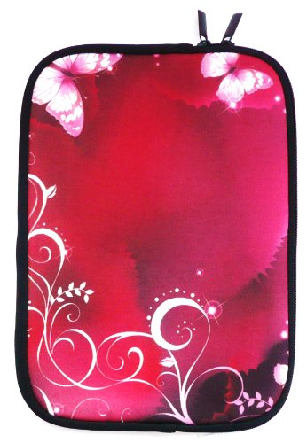 Emartbuy® Rosa Schmetterlinge Water Resistant Neopren Soft Zip Case Cover geeignet für MSI GP60-2QFi585FD 15.6 Zoll Notebook ( 15-16 Zoll Laptop / Notebook / Ultrabook )
