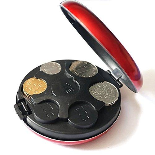 Generic Weiß: SAE fortion rund Euro-Münze Spender Aufbewahrung Münzen Geldbörse Inhaber Aufbewahrungsbox Aluminium Legierung + Kunststoff Münzen Portemonnaie (Abas-geldbörse)
