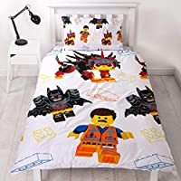 LEGO Movie 2 Single Duvet Cover | Officially Licensed Reversible Two Sided Still Awesome Action Design with Matching Pillowcase, Polyester,