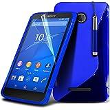 Spyrox ( Blue ) Sony Xperia E4G Hülle Abdeckung Cover Case schutzhülle Tasche Stylish Fitted S zeichnen Wellen-Gel-Kasten-Haut-Abdeckung mit LCD-Display Schutzfolie, Poliertuch und Mini-versenkbaren Stift