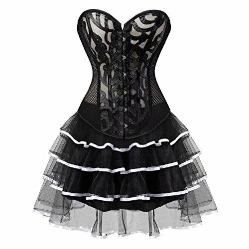 Kleid Korsett Perspektive Vollbrust Bustier Spitze Corsagenkleid elegant Rock Tutu große größen Burlesque festlich Schwarz Weiß ()