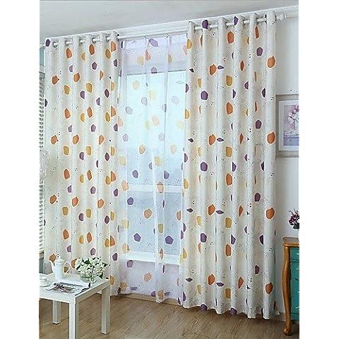 CLL/ dos paneles modernas cortinas geometic habitación de los niños de color beige impresos oscuras , tab top-2* , tab top-2*