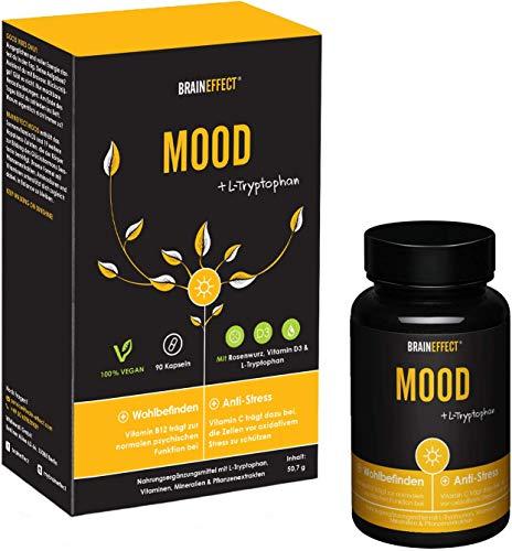 BRAINEFFECT MOOD - Pflanzlicher Stimmungsaufheller - 90 Kapseln - L-Tryptophan & Vitamin D3 + B6 - Mehr Wohlbefinden und gegen Antriebslosigkeit - Vegan -