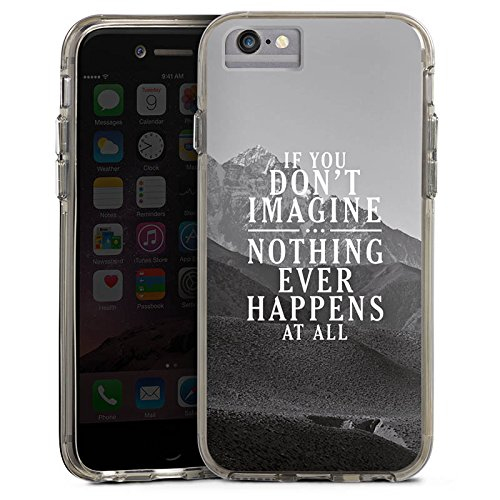 Apple iPhone 6s Plus Bumper Hülle Bumper Case Glitzer Hülle Motivation Sayings Phrases Bumper Case transparent grau