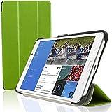 igadgitz Grün PU Ledertasche Hülle Smart Cover für Samsung Galaxy Tab 4 7.0' SM-T230 mit Multi Winkelbetrachtung Stand + Displayschutzfolie