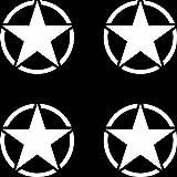 4 Stück US Sterne 5cm matt weiß USA Army MP Auto Jeep Tuning Aufkleber Tattoo die cut Deko Folie