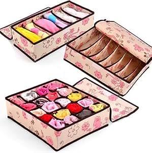 Anti-poussière séparateurs de tiroir Placard Organisateur pour écharpe Serviettes pour soutien-gorge sous-vêtements Boîtes de rangement avec 3Lot de 6cellules + 7cell + 20cell (femmes fleur)