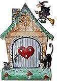 verschiedene lustige Motiv-Briefkasten aus Metall mit/Ohne Zeitungs-rolle Fach, abschließbar mit 2 Schlüssel Motive Eule Hund Frosch Katze Hexe Metallbriefkasten (Briefkasten Hexe)