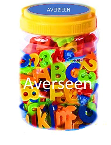 AVERSEEN Multicolour Magnetic Educational Alphabets (Upper & Lower case) with Numbers in jar & Packet (Repack-able Jar)