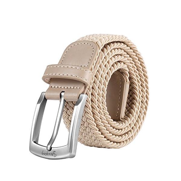 YAUGING Cinturones Hombre, Cinturón Elástico Trenzado con Hebilla Cubierta, para Jeans, Cinturones de Pantalón
