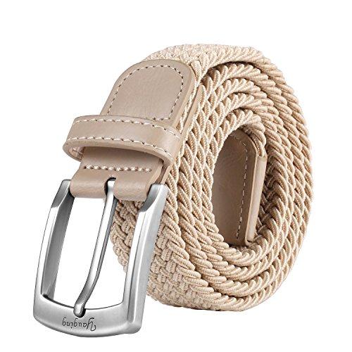 YAUGING Elastischer Stoffgürtel,Geflochtener Stretchen Gürtel mit echten Premium Rindsleder, Premium Flechten gürtel für Damen und Herren, perfekt für Freizeitkleidung (120cm, Beige)