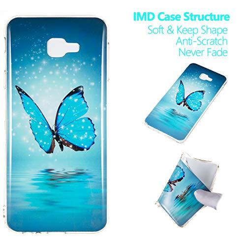 Cozy Hut Samsung Galaxy J4 Core Hülle, Bunte Gemalt Muster [Leuchtend Luminous] Handyhülle TPU Silikon Hülle Handy Hülle Case Tasche Schutzhülle für Samsung Galaxy J4 Core - Meer Schmetterling