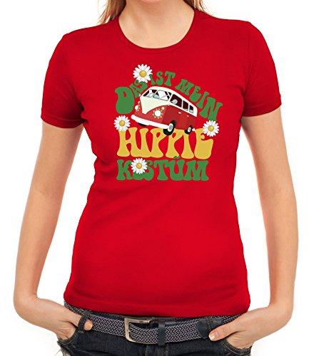 ShirtStreet Fasching Karneval Damen T-Shirt mit Das ist Mein Hippie Kostüm Motiv, Größe: XXL,Rot