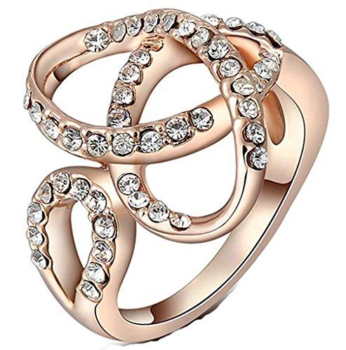 Epinki Gioielli Anello Da Donna Rosa Oro Sciarpa Taglio Diamante Artificiale Cubica Zirconia Misura 17