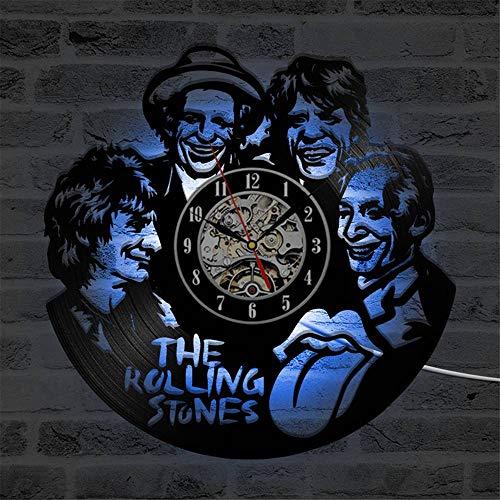 Color Rolling Band (Rjjrr Cd Led Wanduhr The Rolling Stone Band Klassische Uhren Sieben Farben Ändern Modernes Design Schallplatte Wanduhr Wohnkultur-No LED)