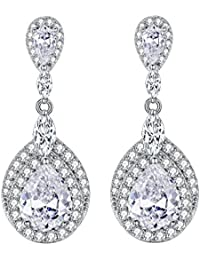 f9eff7ba5f42 Ever Faith® de las mujeres pendientes de plata de ley 925 CZ boda Teardrop  Dangle