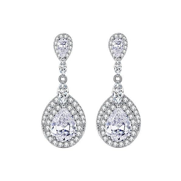 EVER FAITH® Damen 925 Sterling Silber CZ Hochzeit Träne Pierced Dangle Ohrringe Klar