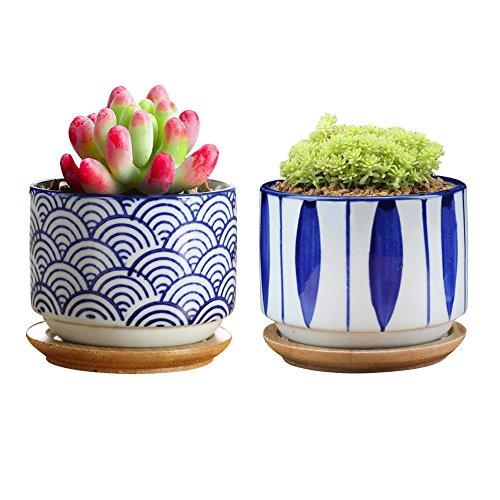 GeLive Japanischen Stil, Wave Keramik Sukkulente Kaktus Blumenkübel Blumen Container mit Bambus Abtropfschale Set von 2 Set of 2 Japanese Planter