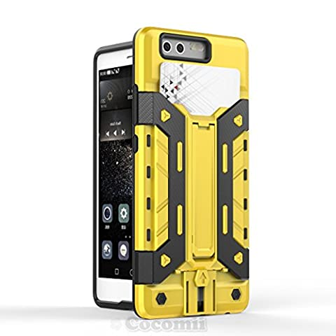 Huawei P9 Coque, Cocomii Transformer Armor NEW [Heavy Duty] Premium Built-in Multi Card Holder Kickstand Shockproof Hard Bumper Shell [Military Defender] Full Body Dual Layer Rugged Cover Case Étui Housse (Yellow)