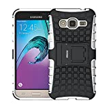 Coque Galaxy J3 (2016), Fetrim Armor Support Protection Étui,anti chocs Bumper Étui Hybride protection Housse Cover pour Samsung Galaxy J3 (2016) (blanc)