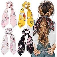 Fashion Craft 4Pcs Hair Scrunchies Silk Satin Scarf Hair Ties Elastic Hair Bands Ponytail Holder Flower Printed Hair…