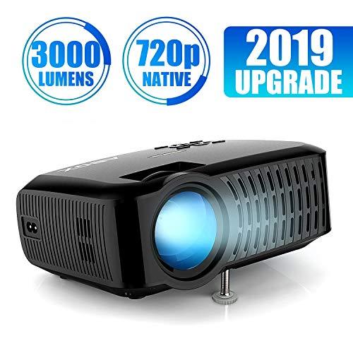 Beamer,3000 Lumen ABOX 2018 Aktualisierte Mini LED Projektor,+60% Helligkeit Full HD 1080P,unterstützt HDMI USB SD VGA AV für Amazon Firestick,Laptop,Smartphone perfekt für Fußballspiele,Filme